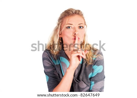 cute girl posing on a white background - stock photo