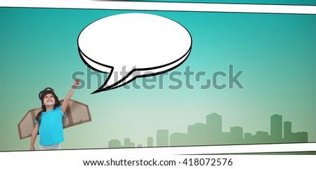 Cute girl pretending to be pilot against speech bubble - stock photo