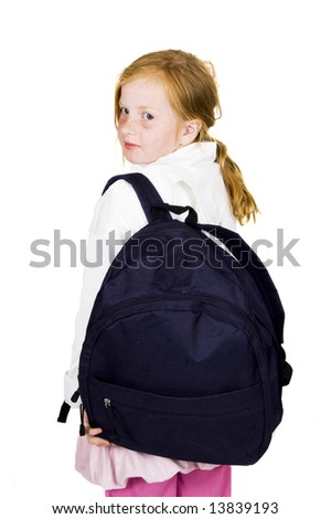 cute girl ready to leave - stock photo