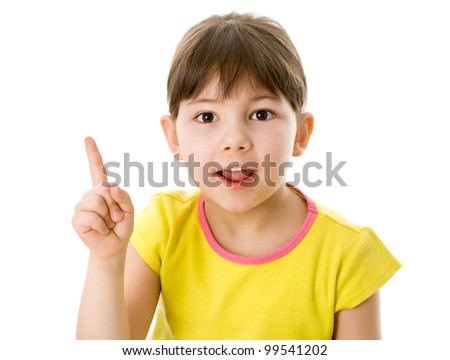 Cute girl shows on white background