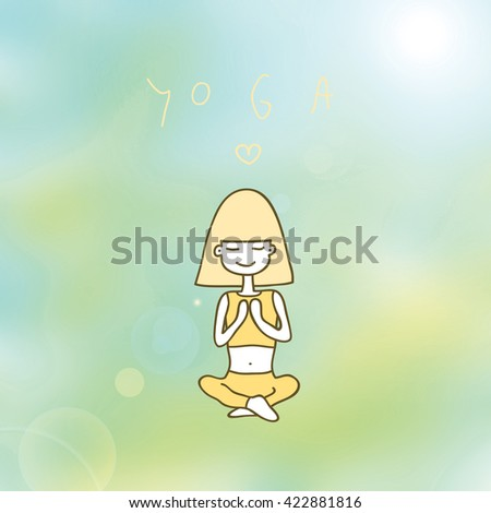 cute girl sitting in the pose of yoga, closing her eyes, she meditates.