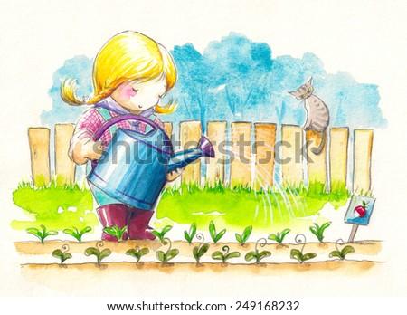 Cute girl watering her garden.Watercolors illustration. - stock photo