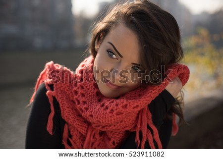 Iranian Woman Stock Images  Royalty Free Images   Vectors     Beautiful girl with nude make up and black manicure wearing black coat and  black scarf holding