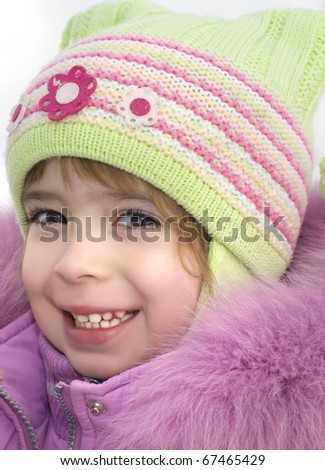 Cute girl winter portrait - stock photo