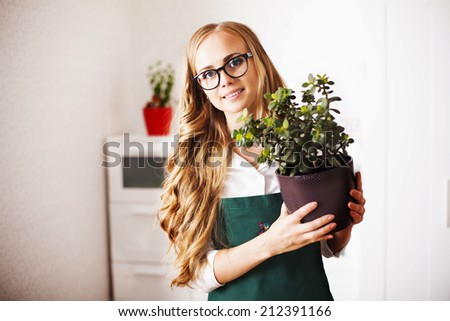 cute girl with a money Tree is at home gardener, house plants, care housewife female