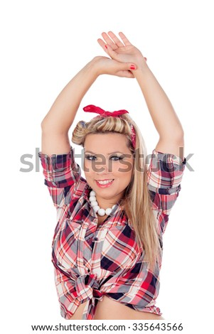 Cute girl with arms up in pinup style isolated on a white background - stock photo