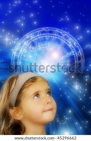 cute girl with curious expression over astrological background