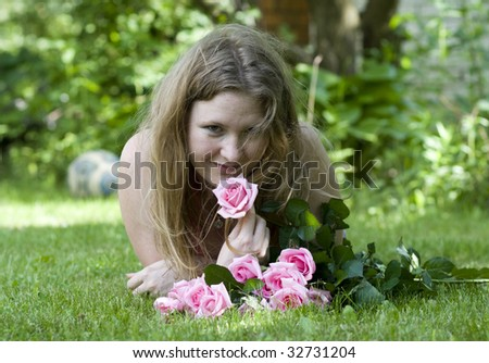 cute girl with flowers - stock photo