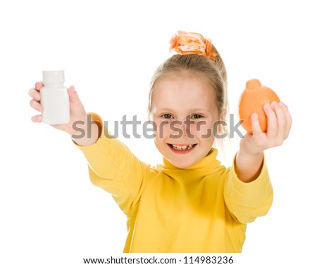 Cute girl with orange and bottle on a white background. - stock photo