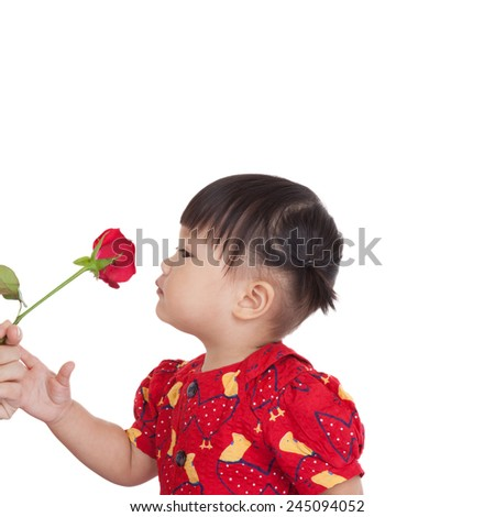 Cute girl with smelling a flower of beautiful red roses. Beautiful mixed asian / caucasian model. Isolated white background. - stock photo