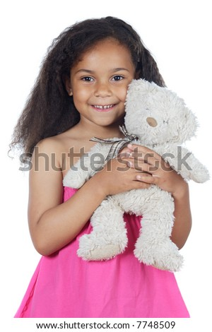 Cute girl with teddy bear over white background - stock photo