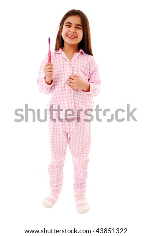 Cute girl with toothbrush isolated on white