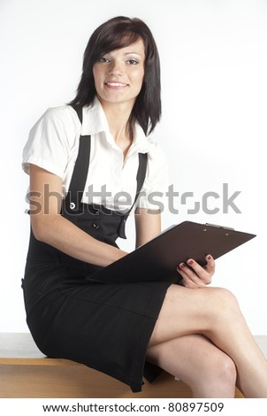 cute girl working on a white background
