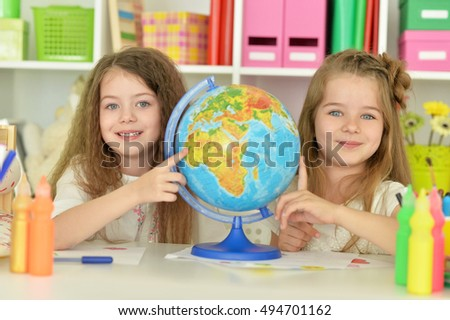 Cute girls  on lesson