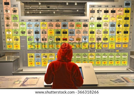 Cute Girt in Red Sweater is Leaning with the Periodic Table Board - stock photo
