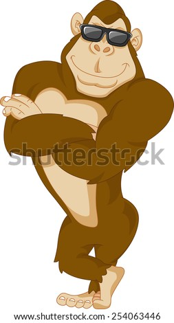 cute gorilla cartoon - stock photo