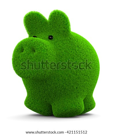 Cute Grass Piggy Bank on White Background 3D Illustration - stock photo