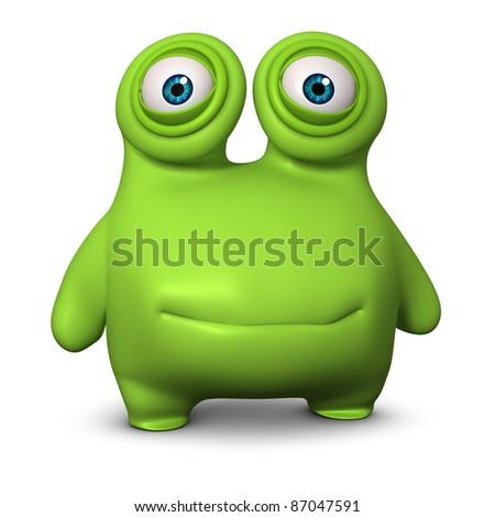 cute green alien - stock photo