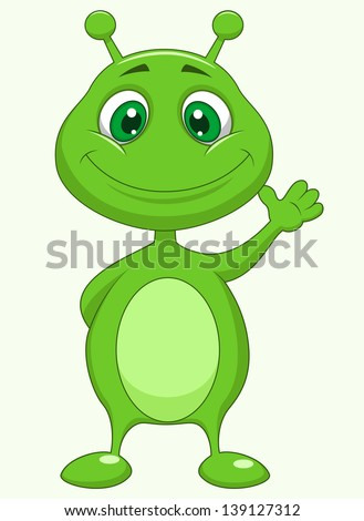 Pictures cute cartoon alien waving one of his hands stock photo