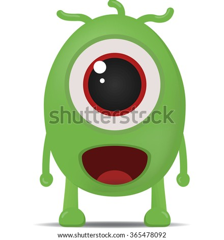 Cute green cartoon monster.Cartoon character.Isolated on white. - stock photo