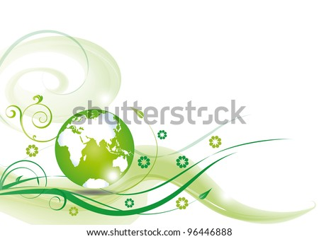 Cute green ecology background with green globe