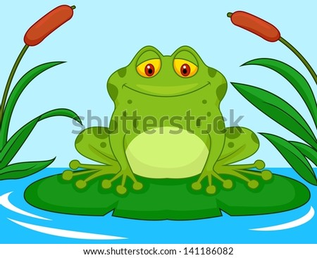 Frog Lily Pad Song Frog Cartoon on a Lily Pad