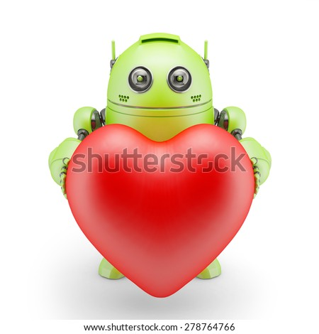 Cute green robot with big red heart. Rendered over white background - stock photo