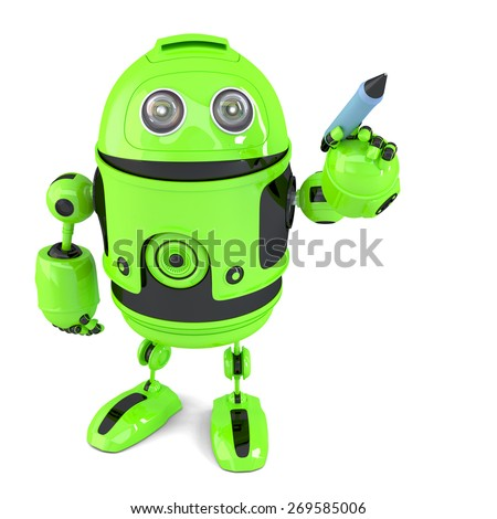 Cute green robot writing with a pen. Isolated on white. Contains clipping path