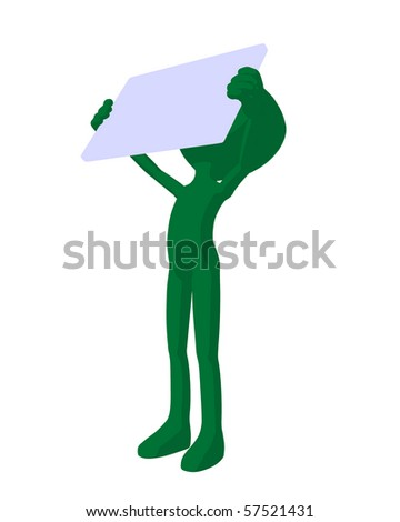 Cute green silhouette guy holding a blank business card on a white background