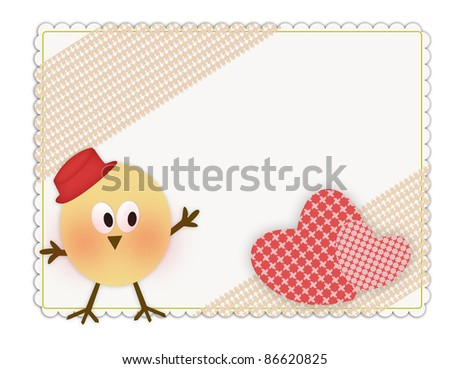 Cute greeting card decorated with hearts and funny bird - stock photo