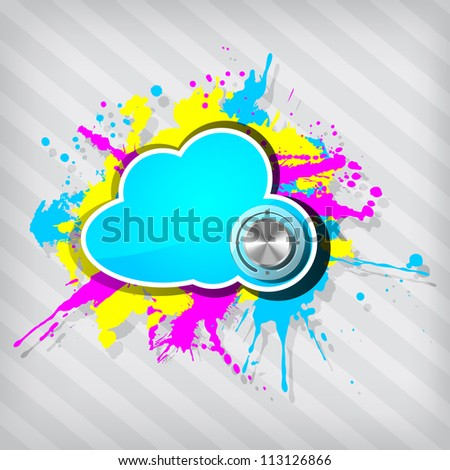 Cute grunge cloud computing icon frame with chrome volume on a stripped background - stock photo