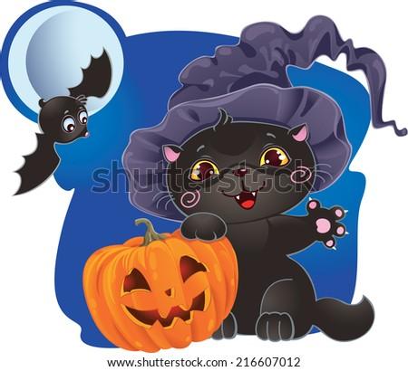 Cute Halloween kitten with pumpkin - stock photo