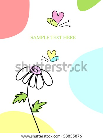 Cute hand drawn greeting card with bee - stock photo