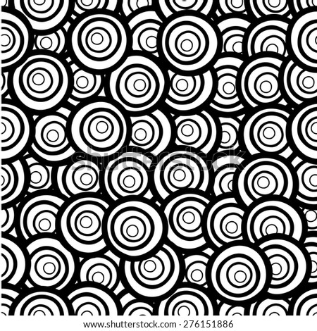 Cute hand drawn seamless pattern with circles in retro style. Background in black and white colors. Monochrome texture. raster version illustration can be copied without any seams.  - stock photo