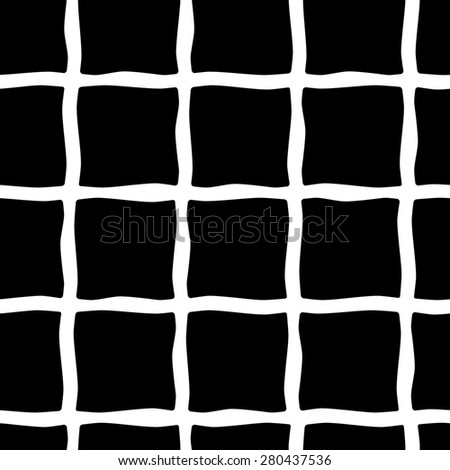 Cute hand drawn seamless pattern with rectangles. Background in black and white colors. Monochrome texture. raster illustration can be copied without any seams. - stock photo