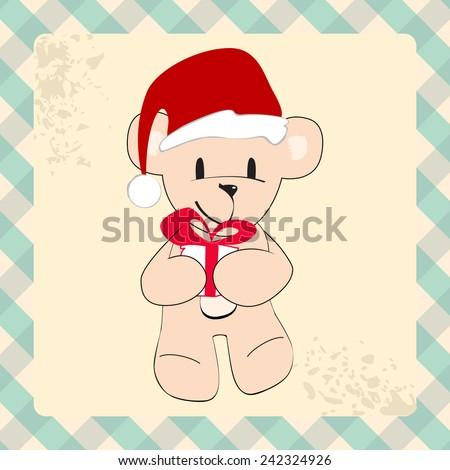Cute hand drawn style Christmas teddy bear with Santa's hat - stock photo
