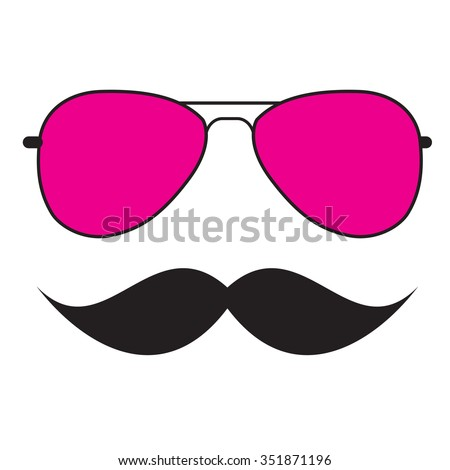 Cute Handdrawn Glasses and a Mustache Illustration