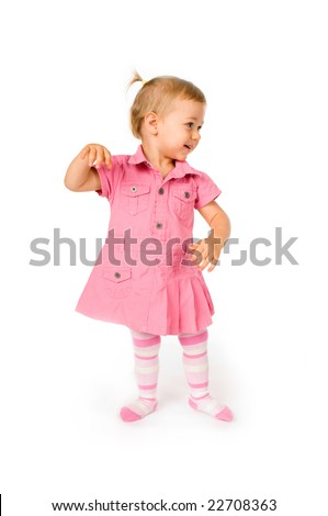 Cute happy baby girl dancing