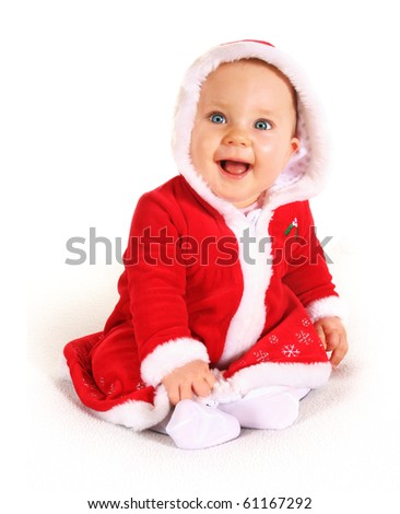 Cute happy baby in red Christmas clothes isolated on white - stock photo