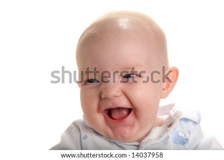 Cute happy baby isolated on white - stock photo