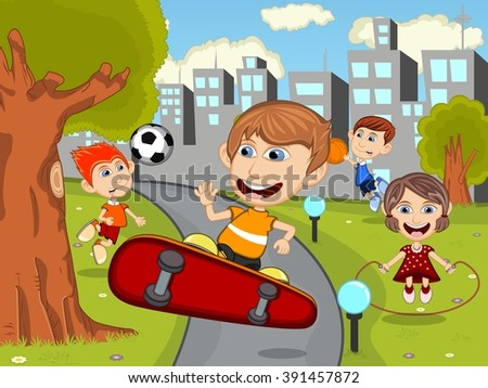 Cute happy cartoon kids playing skate board, soccer, jumping rope, running, basketball in the park cartoon - stock photo