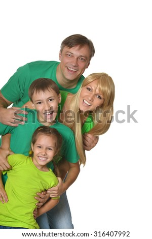Cute happy family on a white background