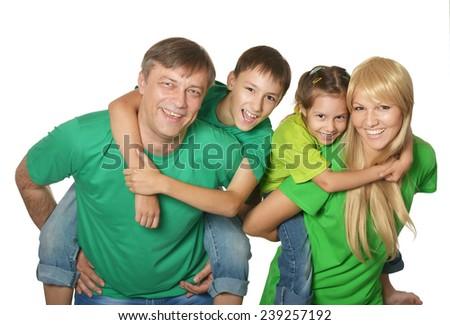 Cute happy family on white - stock photo