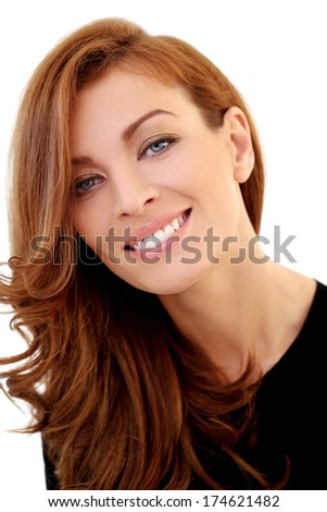 Cute, happy girl on a white background - stock photo