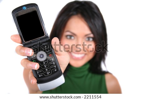 Cute, Happy Girl using a Cell Phone - stock photo