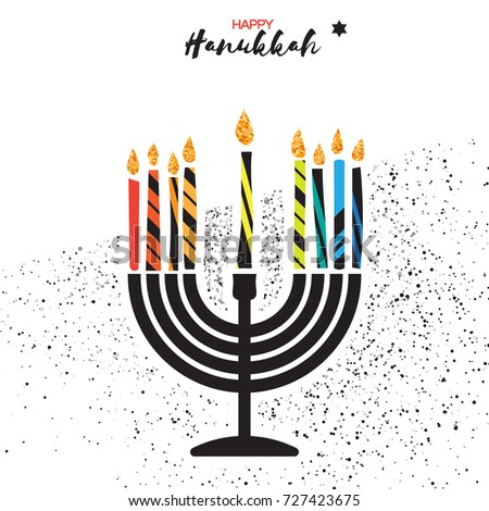Cute happy hanukkah greeting card jewish stock illustration cute happy hanukkah greeting card jewish holiday with menorah traditional candelabra colorful candles m4hsunfo