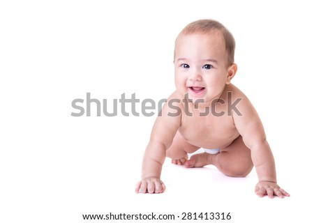 Cute happy smiling baby laying wearing diaper, isolated. - stock photo
