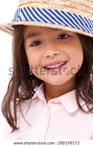 cute, happy, smiling female asian caucasian girl - stock photo