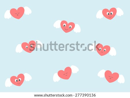 Cute heart with angel's wings funny cartoon illustration - stock photo