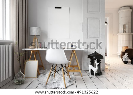 Cute hipster loft with little reindeer sculpture beside simple desk and chair. 3D rendering